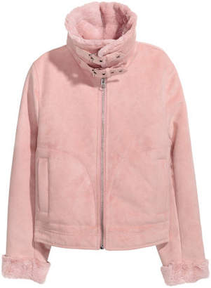 H&M Jacket with Faux Fur Lining - Pink