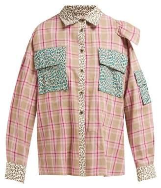 Natasha Zinko Open Back Panelled Cotton Shirt - Womens - Pink Multi