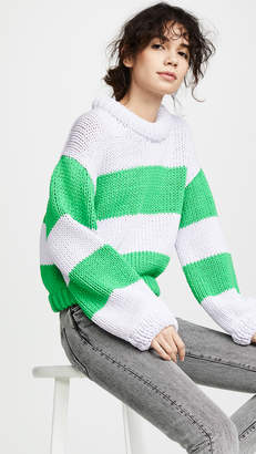 Tibi Striped Cropped Pullover