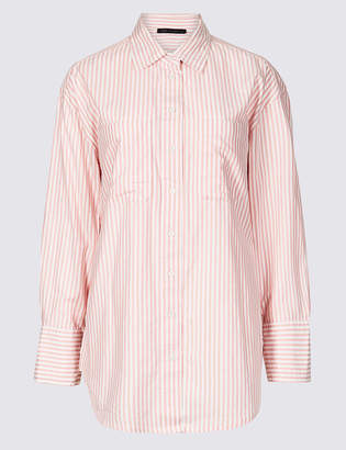 M&S Collection Pure Cotton Oversized Striped Shirt