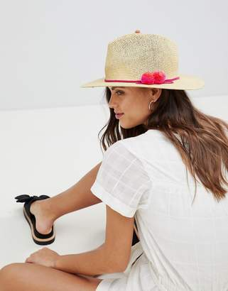 French Connection Straw Beach Hat With Pom Poms