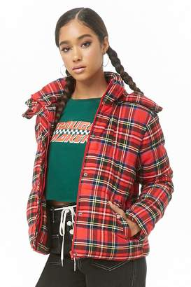 Forever 21 Plaid Puffer Jacket