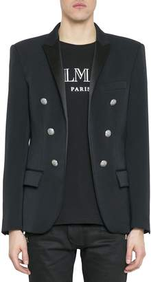 Balmain Satin Trimmed Six-buttons Wool Blazer