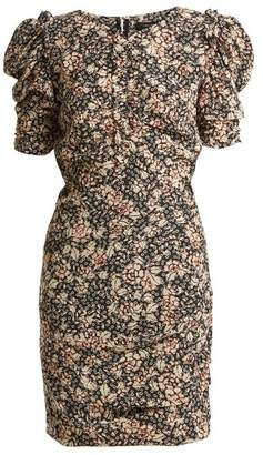 Isabel Marant Brizia Floral Print Puff Sleeved Dress - Womens - Black Print