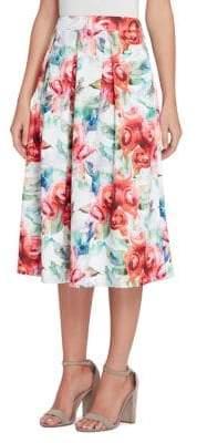 Tahari Arthur S. Levine Petite Floral Pleated Midi Skirt