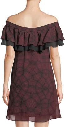 Sam Edelman Off-The-Shoulder Printed Mini Dress