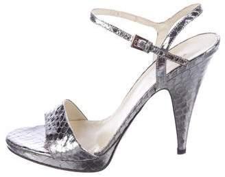 Prada Snakeskin Ankle Strap Sandals