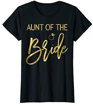 Womens Aunt Of The Bride Shirt And Ring Faux Gold Foil