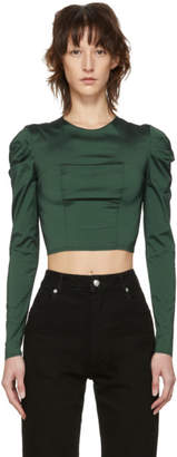 Eckhaus Latta Green Gather Sleeve Blouse