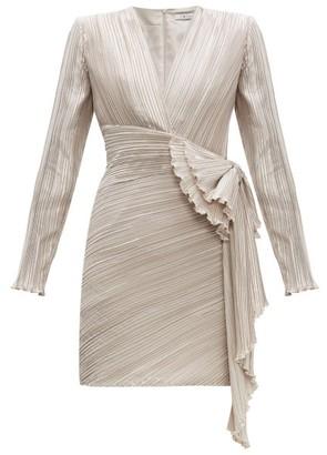 Givenchy Bow Embellished Plisse Satin Dress - Womens - Light Grey