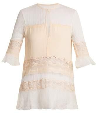Jonathan Simkhai Lace Panel Silk Georgette Top - Womens - Cream