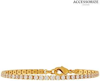 Accessorize Womens Clear Sparkle Tennis Bracelet - Natural