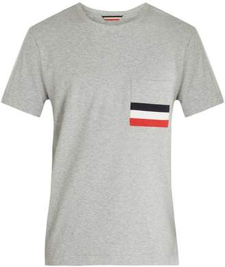 Moncler Stripe Applique Patch Pocket Cotton T Shirt - Mens - Grey