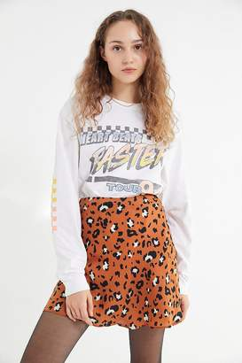 Urban Outfitters Leopard Print Swingy Satin Mini Skirt