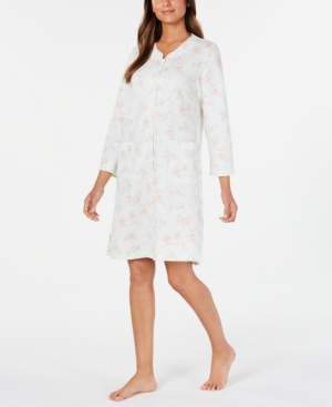Miss Elaine Quilted Knit Floral-Print Robe