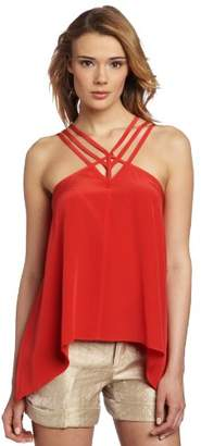 BCBGMAXAZRIA Women's Kasia Strappy Draped Hem Top