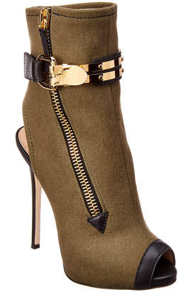 Giuseppe Zanotti Roxie Denim & Leather Peep-Toe Bootie