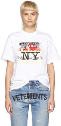 Vetements White New York Tourist T-Shirt