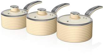 Swan Retro Set Of 3 Saucepans - Cream