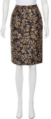Prada Floral Brocade Knee-Length Skirt w/ Tags