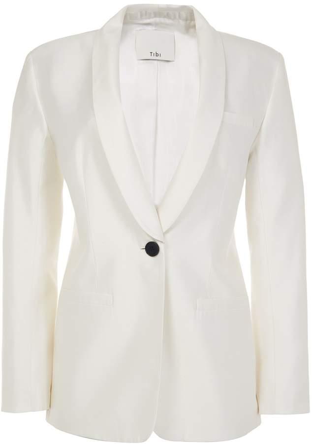 Tibi Silk Gazaar Oversized Tuxedo Blazer