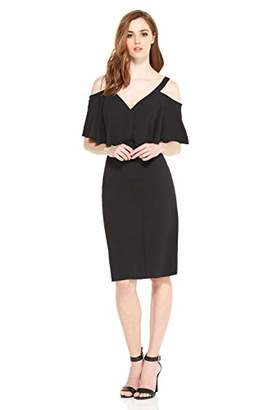 Maggy London Women's Cold Shoulder Midi Sheath with Flutter SLV