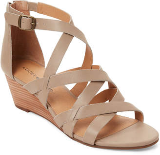 Lucky Brand Roasted Cashew Jewelia Strappy Wedge Sandals