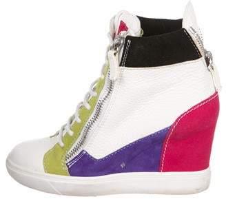 Giuseppe Zanotti Leather High-Top Wedge Sneakers