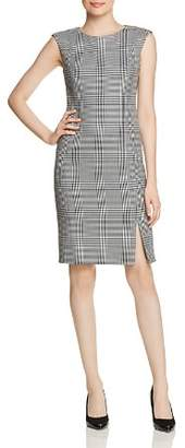 BOSS Deboa Glen Plaid Cap Sleeve Dress