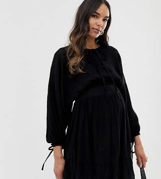 Asos DESIGN Maternity mini dress with elasticated waist in crinkle