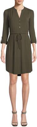 Joan Vass Long-Sleeve Button-Front Shirt Dress