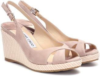 Jimmy Choo Amely 80 suede wedge sandals