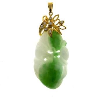 14K Rose Gold with Natural Jadeite Jade & 0.09ct. Vintage Diamond Pendant