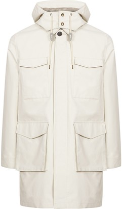Reiss Archer - Four Pocket Mac With Detachable Hood in White