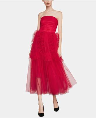 BCBGMAXAZRIA Strapless Ruffled Gown