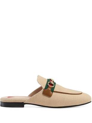 Gucci Princetown Canvas Slippers