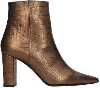 Marc Ellis High Heels Ankle Boots In Bronze Leather