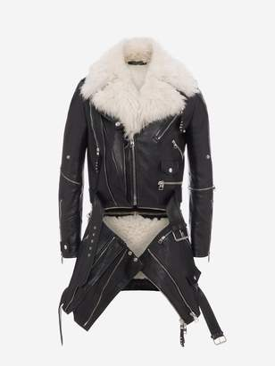 Alexander McQueen Shearling And Leather Long Biker