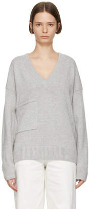 Tibi Grey Cashmere Patch Pocket V-Neck Pullover