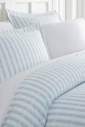 IENJOY HOME Home Spun Premium Ultra Soft 3-Piece Puffed Rugged Stripes Duvet Cover King Set - Light Blue