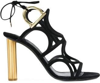 Salvatore Ferragamo Gancio flower heel sandals