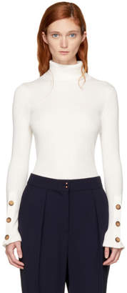 See by Chloe White Button Turtleneck
