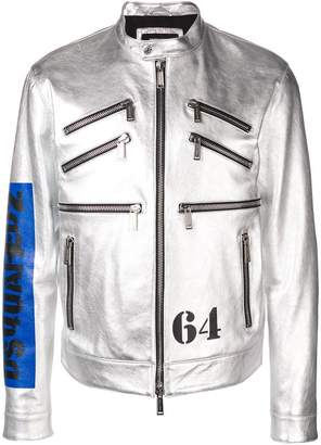 DSQUARED2 metallic leather racer jacket