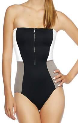 DKNY Swimwear Zip up One Piece Swimsuit Bandeau Maillot Swimsuit