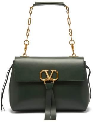 Valentino V Ring Medium Leather Shoulder Bag - Womens - Dark Green