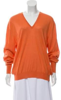 Loro Piana Cashmere Lightweight Knit Top Orange Cashmere Lightweight Knit Top