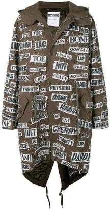 Moschino safety pin hooded parka