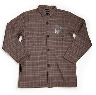 DÃMOS - Demos Brown Pattern Badminton Racket Printed Long Shirt Coat Jacket