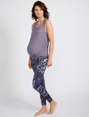 A Pea in the Pod Beyond The Bump Fold Over Belly Floral Print Maternity Leggings