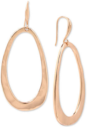 Robert Lee Morris Soho Rose Gold-Tone Hammered Drop Hoop Earrings